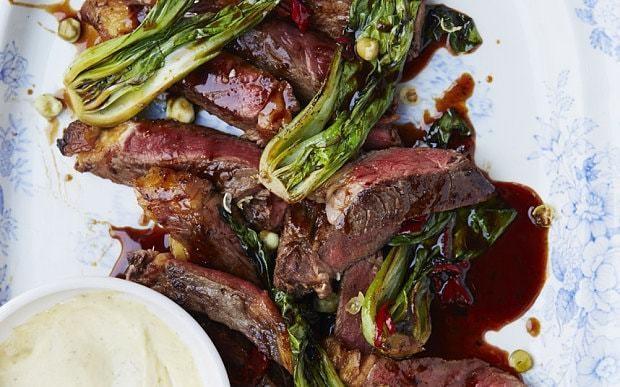 Sirloin steak with wasabi mayonnaise recipe