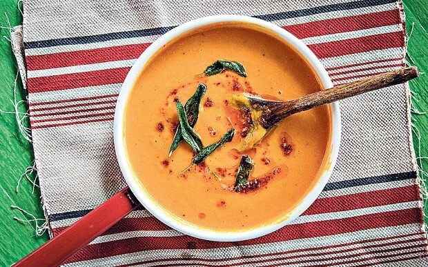 Spiced squash soup with sage and chilli butter recipe