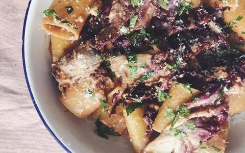 Tonight's dinner: Pasta with radicchio, balsamic and feta