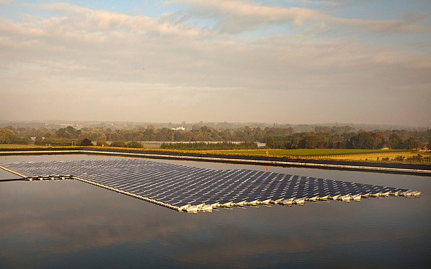 Britain's first floating solar panel project installed