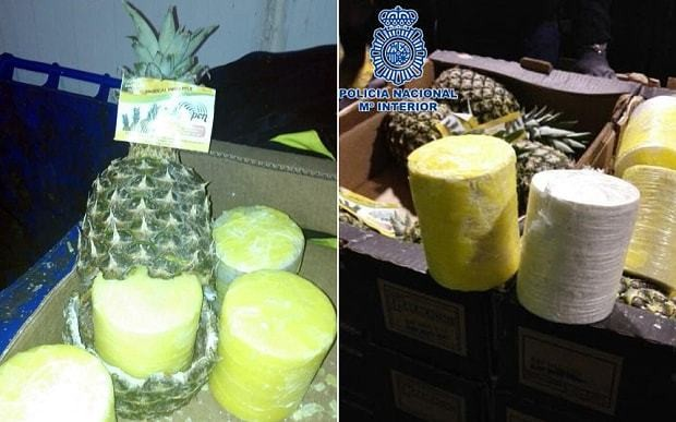 Spanish police seize cocaine inside hollowed-out pineapples