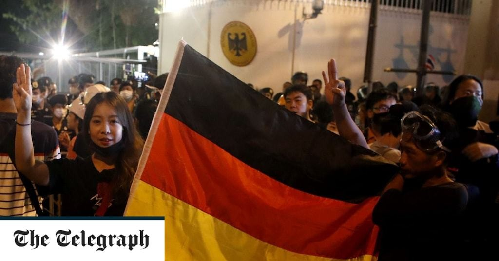 German embassy in Bangkok becomes flashpoint as demonstrators pressure Berlin on Thai king's legal status