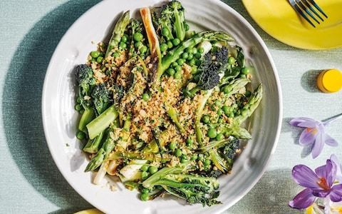 Braised spring onions with purple-sprouting broccoli, asparagus and peas recipe