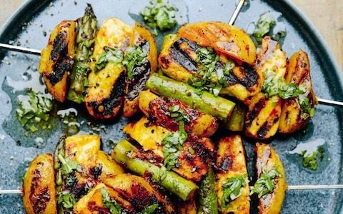 Harissa potato, halloumi and asparagus with coriander and lemon oil recipe