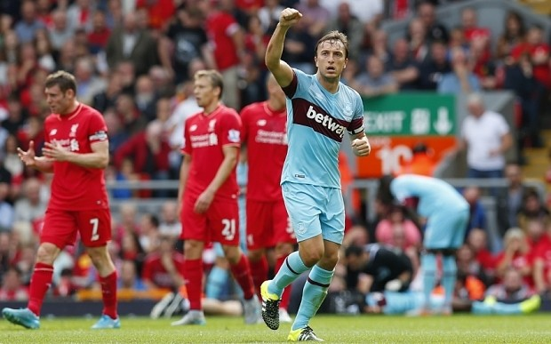 Liverpool 0 West Ham 3, Premier League match report: Hammers win at Anfield for first time since 1963