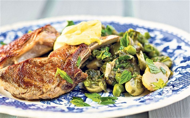 Pan-fried lamb chops with peas, broad beans and new potatoes recipe