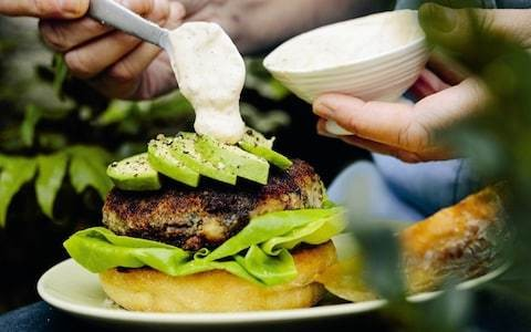 Mexican black bean burger, avocado, chipotle sour cream recipe