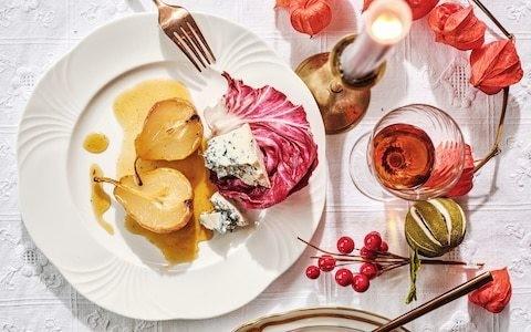 Roast spiced pears with gorgonzola recipe