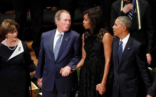 George W Bush mocked on social media for dancing during hymn at Dallas memorial service