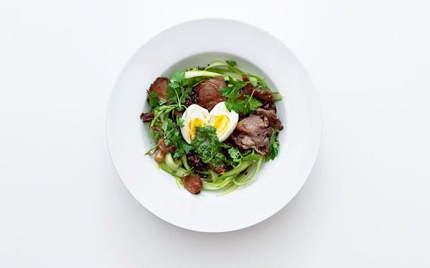 Mushroom, black quinoa and pesto salad recipe
