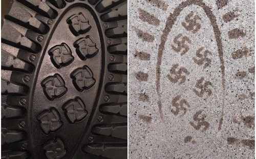US shoe company recalls boot over swastika prints and apologises for 'obvious mistake'