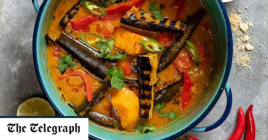 Vegan moqueca (Brazilian stew) of aubergine, sweet potato and pepper recipe