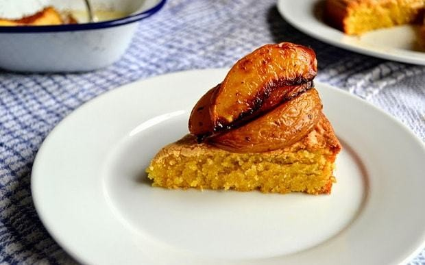 Olive oil polenta cake with peaches