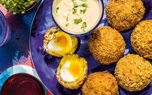 Diana Henry's Scotch eggs with hot curry mayo