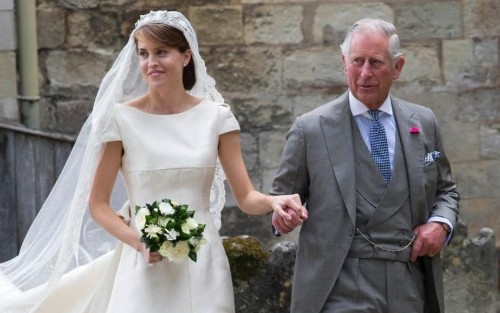 The Queen attends 'society wedding of the year' as Prince Charles gives away Lord Mountbatten's great granddaughter