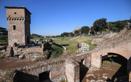 Brothels, bars and betting shops - last surviving remnant of ancient Rome's Circus Maximus opened to the public after seven year restoration
