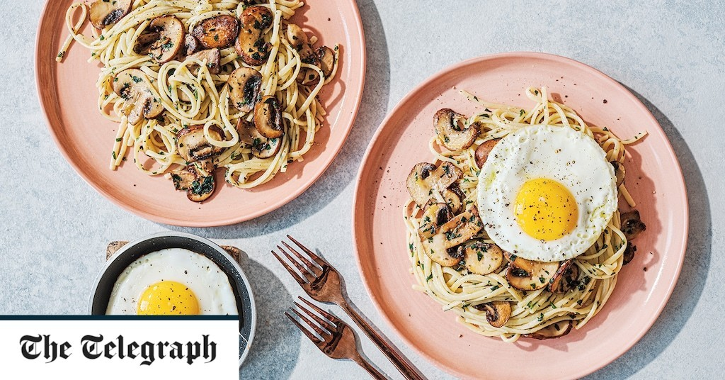 Languedoc pasta with mushrooms and fried egg recipe
