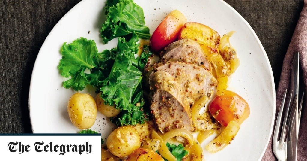 Pork loin with mustard and apples recipe