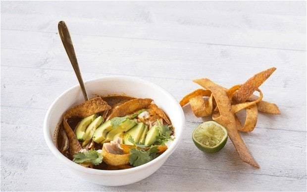 Tortilla soup with avocado recipe