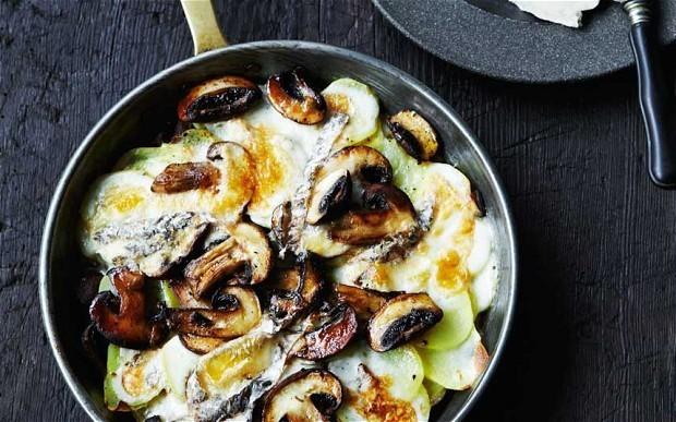 Mushrooms, potatoes and melting taleggio recipe