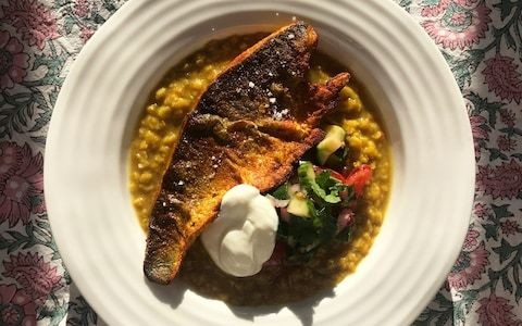 Friday night dinner: Spiced sea bass with dal and kachumber