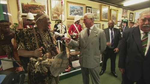 Prince Charles meets troops, goat and Zulu warrior on tour of Royal Welsh Museum