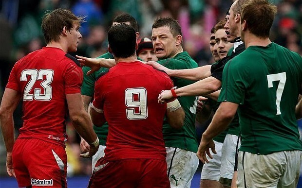 Six Nations 2014, Ireland v Wales: Brian O'Driscoll inspires his team in front of Warren Gatland