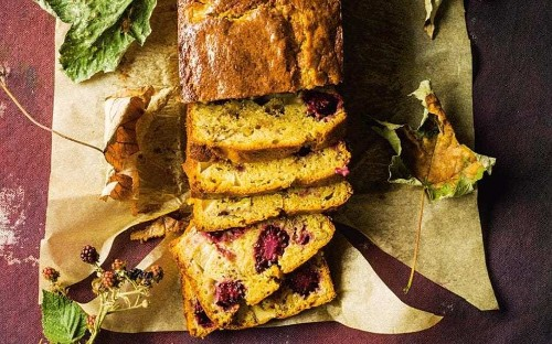 Pear, blackberry and walnut cake