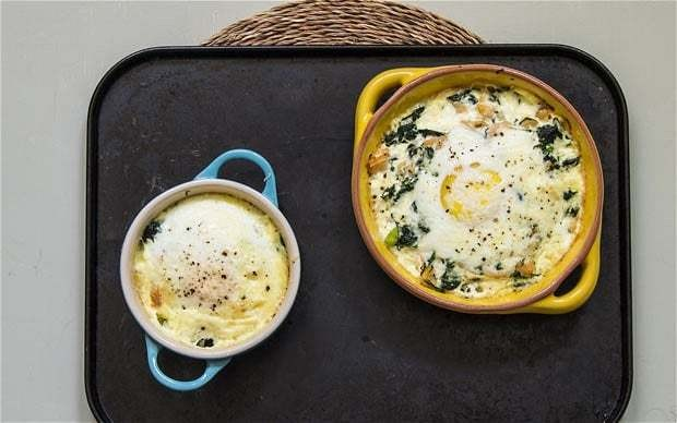Speedy weeknight suppers: baked eggs with salmon and spinach