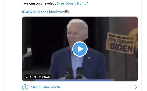 Twitter uses deepfake alert for the first time on video shared by US president