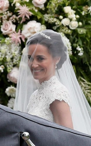 Pippa Middleton recycles diamond earrings originally commissioned for Duchess of Cambridge's wedding as she weds James Matthews