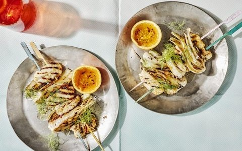 Halloumi and fennel kebabs with orange, chilli and honey recipe