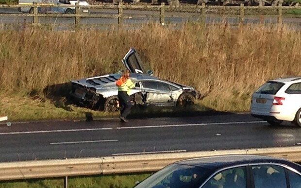 Lamborghini Aventador worth £260k crashes on M6
