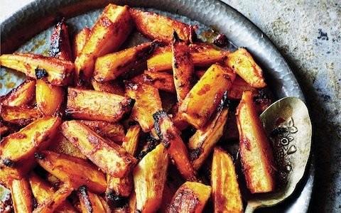 Roasted parsnips with harissa orange glaze recipe