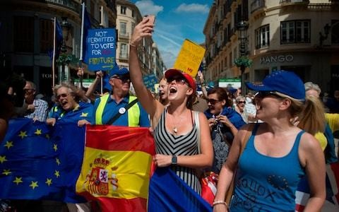 British expats take to streets in Spain to protest Brexit uncertainty
