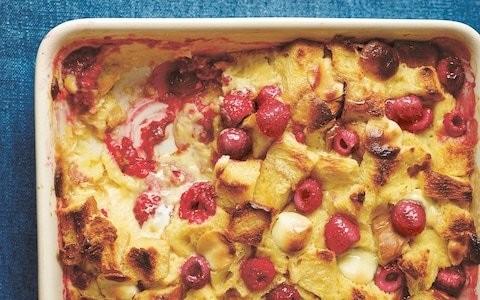 White chocolate and raspberry brioche pudding recipe