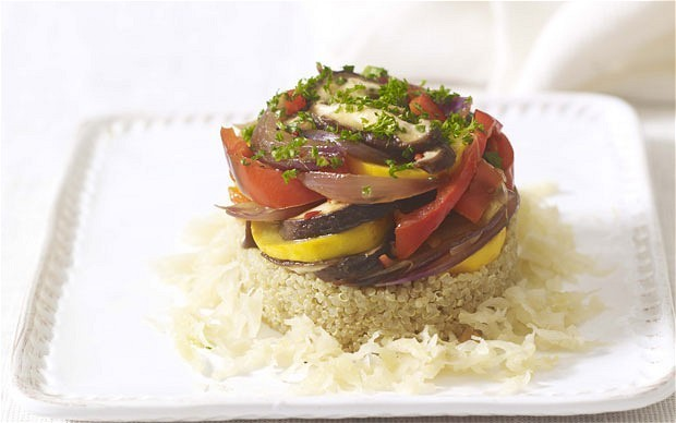 Healing recipes: quinoa and vegetable stack