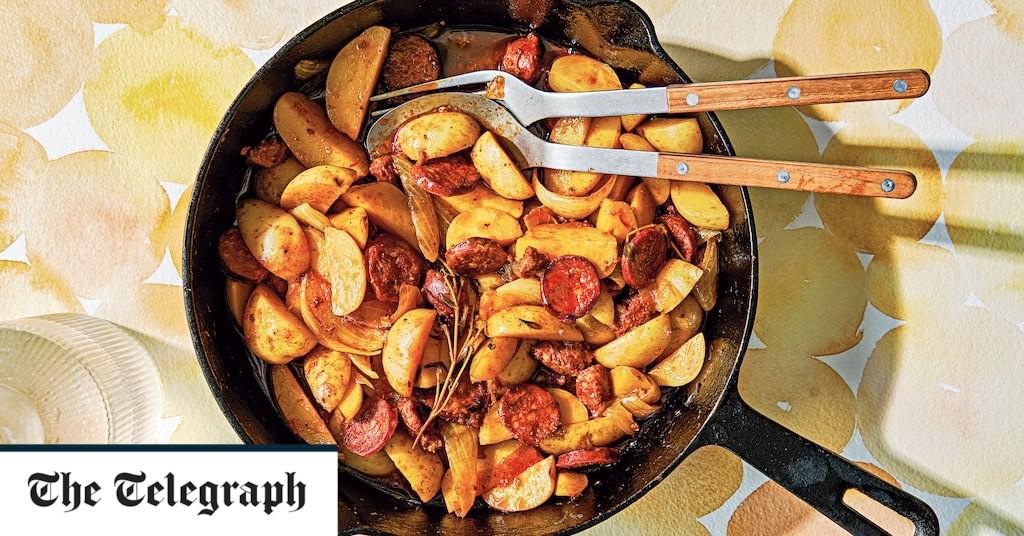 Saffron braised potatoes with sherry, onions and chorizo recipe
