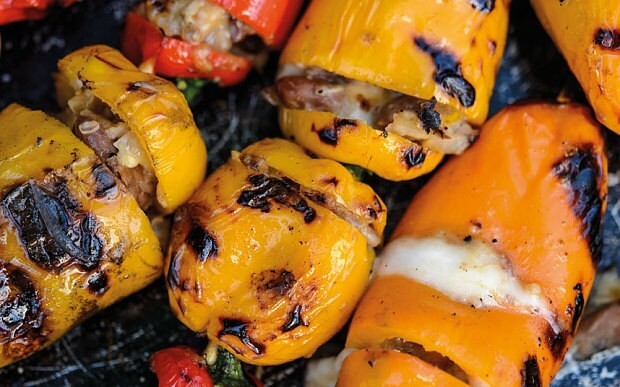 BBQ Mexican peppers stuffed with mozzarella