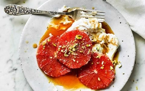 Burnt honey grapefruit with cardamom-ginger yogurt breakfast recipe