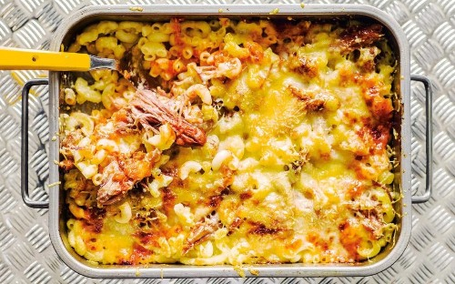 Ham and tomato macaroni-cheese gratin from the Perigord