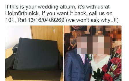 Police attempt to return 'stolen' wedding album backfires spectacularly