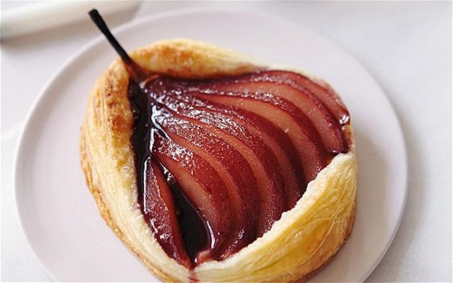 Puff pastry red-wine-poached pear tartlets
