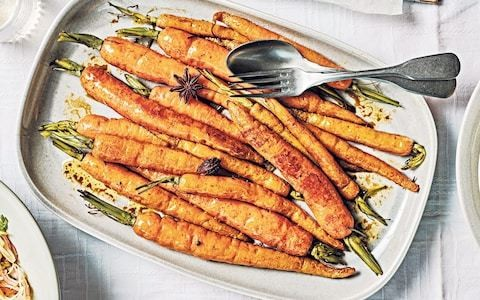 Roasted carrots with cardamom and star anise recipe