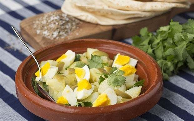 Moroccan egg, potato and olive pitta wraps recipe