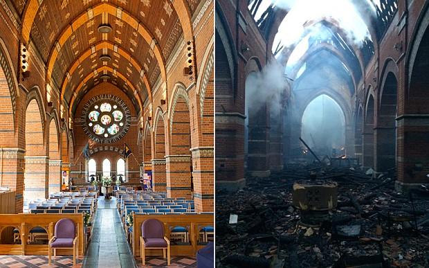 Boy arrested on suspicion of burning down a 200-year-old church