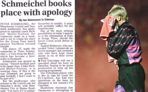 """25 years ago today in sport: Peter Schmeichel apologises for """"working class football"""" comment"""