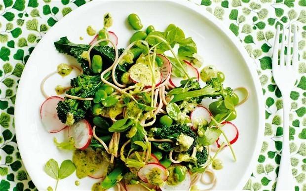 The New Vegetarian: radish, broad-bean and soba-noodle salad