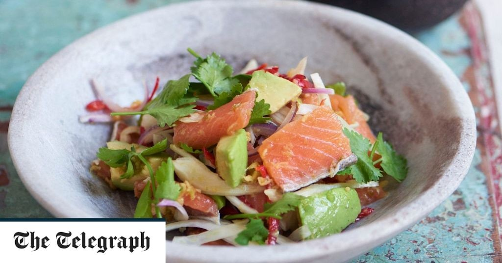 Salmon ceviche with bergamot, avocado, coriander and toasted pine nuts recipe