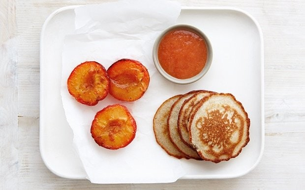Almond and coconut pancakes with spiced plums recipe